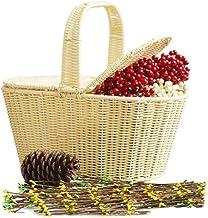 Outdoor camping picnic bag Portable Basket With Lid Outdoor Picnic Basket Rattan for Outdoor Picnics, Hiking, Beaches (Col...