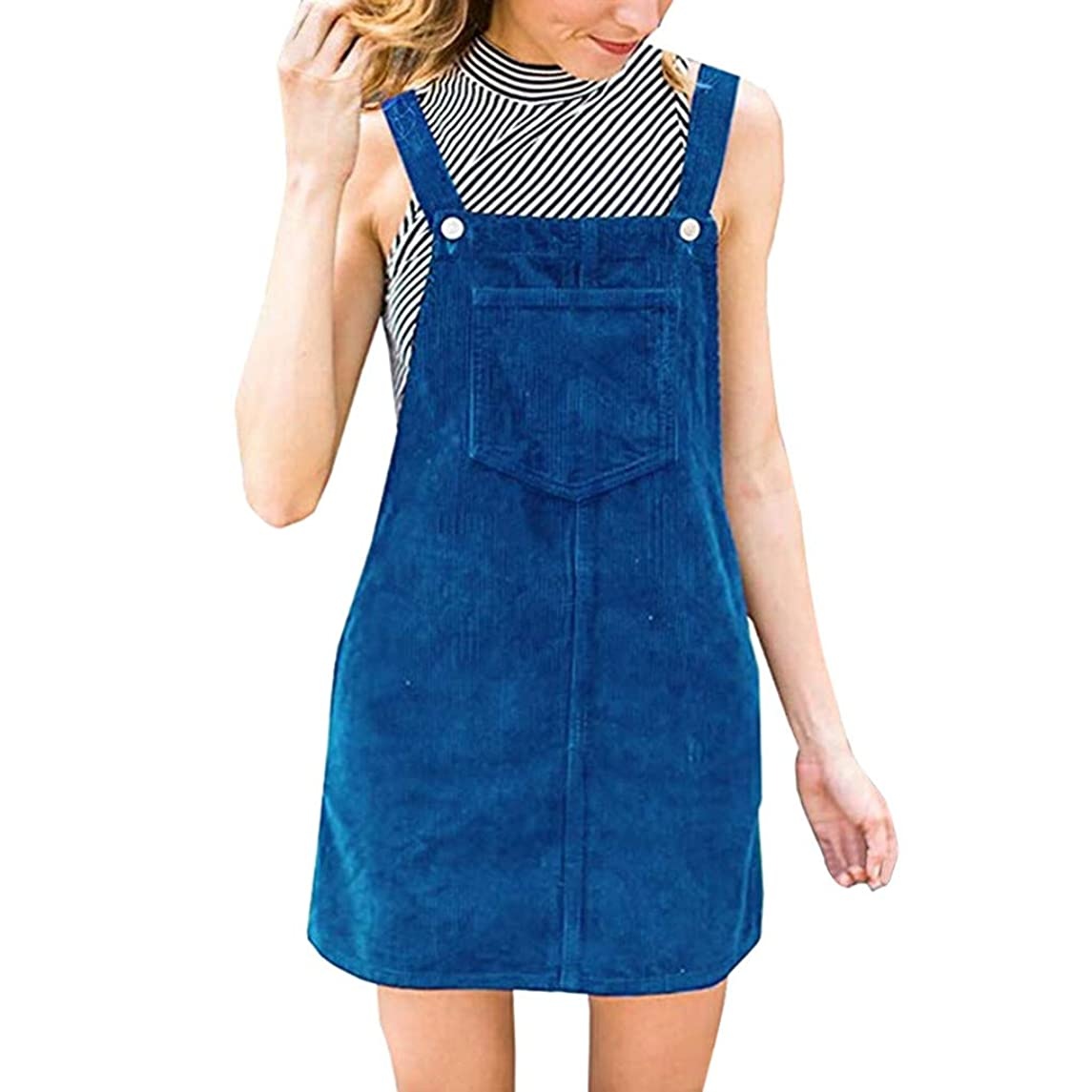 Sunhusing Women's Solid Color Corduroy Sleeveless Suspender Button Buckle Pocket Splicing A-Line Straight Dress