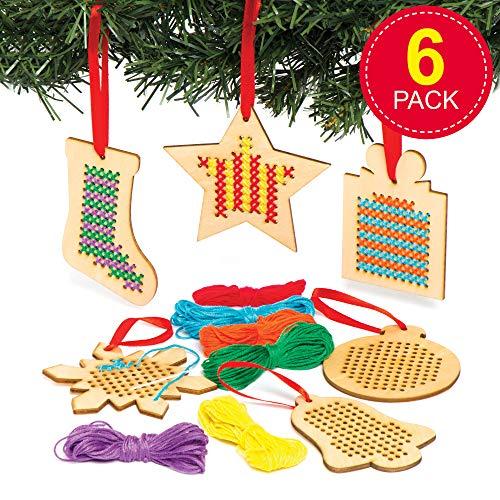 Baker Ross Kits de punto de cruz de decoración de madera navideña - Ideal para...