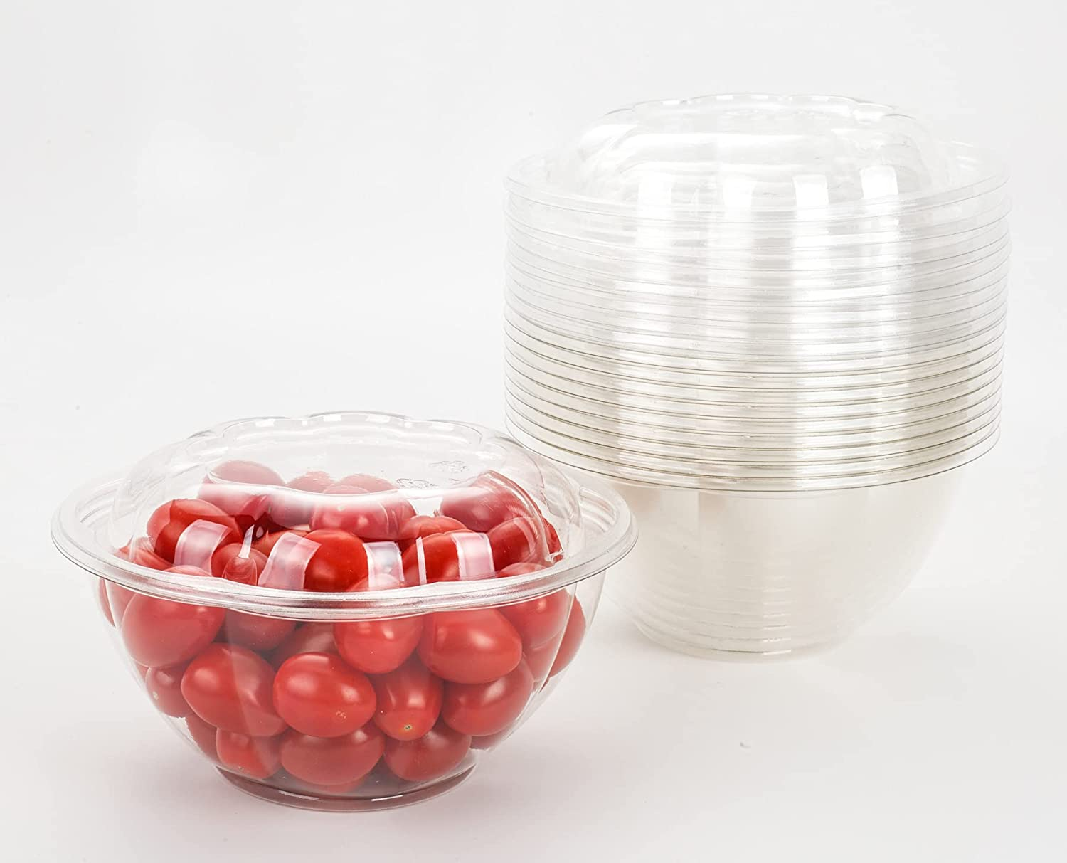 GOLDEN APPLE, 32oz-10sets, Disposable Plastic Serving Rose Bowls with Lids, Large Clear Plastic Disposable Salad Containers with Lids