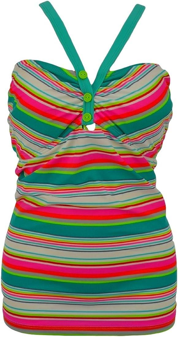 SO Women's Swimwear Halter Wired Tankini Top, Multicolored Strips