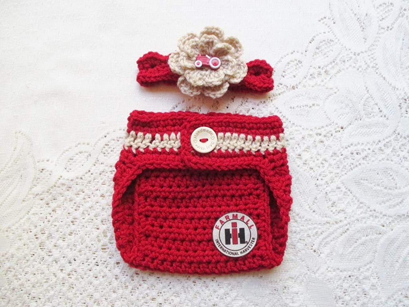 Crochet Baby International Harvester - Farmall Headband and Diaper Cover Set - Baby Photo Prop - Baby Shower Gift - Available in 0 to 6 Months