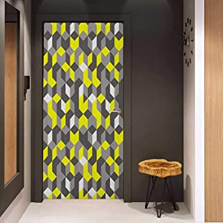 Toilet Door Sticker Grey and Yellow 3D Print Inspired Modern Geometrical Boxes Cubes Image Glass Film for Home Office W35.4 x H78.7 Mustard Yellow Black and White