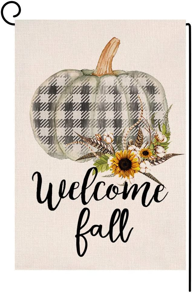 BLKWHT Fall Thanksgiving Pumpkin Garden SALENEW very popular! Flag Do Inexpensive 12.5x18 Vertical