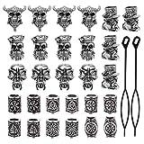 YMHPRIDE 30 pièces Viking barbe perles antique nordique cheveux tube perles pirate...