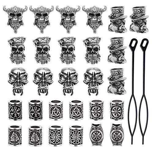 YMHPRIDE 30 stycken Viking skäggpärlor Antik norr hårrör pärlor Pirat skalle Dreadlocks Pärlor för hår flätning armband hängande halsband Silver DIY smycken hår dekoration