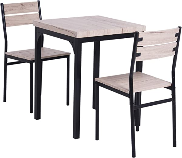HOMCOM Rustic Country Wood Top 3 Piece Kitchen Table Dining Set W Chairs