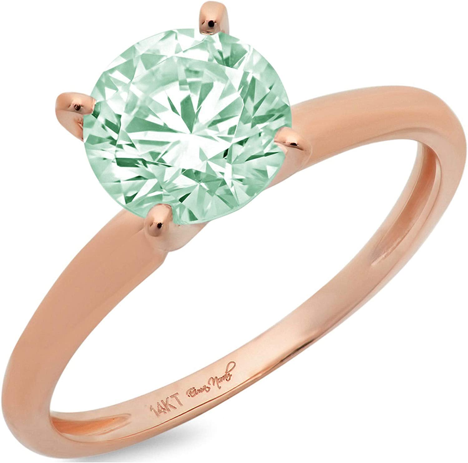 2.95 ct Brilliant Round Cut Solitaire Blue Moissanite Ideal VVS1 4-Prong Engagement Wedding Bridal Promise Anniversary Designer Ring in Solid 18K Rose Gold for Women