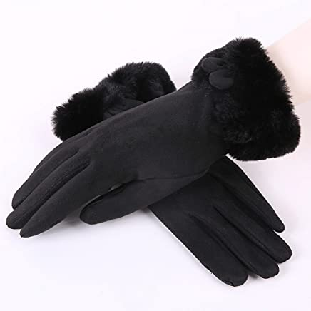CKH Rabbit Ear Gloves Female Autumn and Winter Sweet Cute Student Warm Plus Velvet Thickening Windproof Cycling Ladies Touch Screen Gloves Black