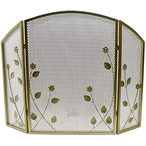 Fireplace Screen Gold Leaf Pattern Spark Guard with Metal Mesh Cover, 3-Panel Iron Fireplace Safety Fence, for Open Fire/Gas Fires/Stoves