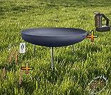 BTV Feuerschale mit dünnen Runden Füßen, XXXL ca. 100cm Feuerkorb aus Stahl + Grillbesteck UND Reiniger Grill Grillen für Garten
