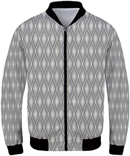 Grey and Yellow Men's Windproof Jacket,Geometric Retro 60s 70s Home Inspired Rounds Squares Image for Outdoor,XS