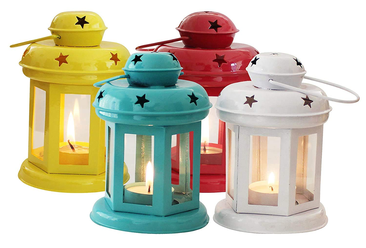 Extreme Karigari - Hanging Lantern Decorative Tea Light Holder Home Decor Red/Pink, White, Blue and Yellow Color Iron Lamp with Candle Tealights & Festive Decor 10x10x14 cm Set of 4