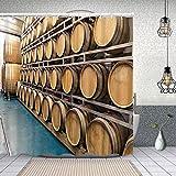 MAYUES Cortina de Ducha Impermeable En Las Mejores bodegas se utilizan barriles de Madera Viejos Tradicionales para almacenar Vino Whisky gm Cortinas baño con Ganchos Lavable a Máquina 72x72 Inch