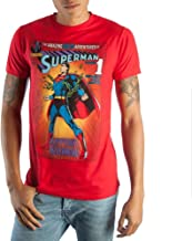 Vintage Superman DC Comic Book Cover Artwork Men's Red Graphic Print Boxed Cotton T-Shirt