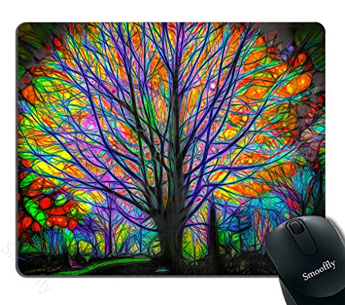 Smooffly Creative Trees Mouse Pad for Office, Colorful Watercolor Spring Life Tree Mouse Pad Personality Desings Gaming Mouse Pad 240mm X 200mm X 3mm