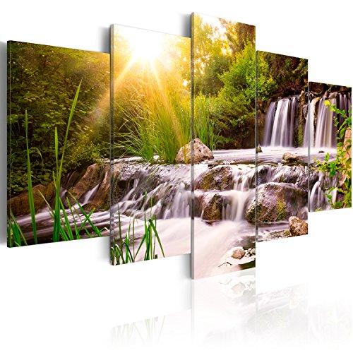 murando - Bilder 200x100 cm Vlies Leinwandbild 5 TLG Kunstdruck modern Wandbilder XXL Wanddekoration Design Wand Bild - Natur Landschaft Wasserfall grün Bäume c-C-0026-b-n