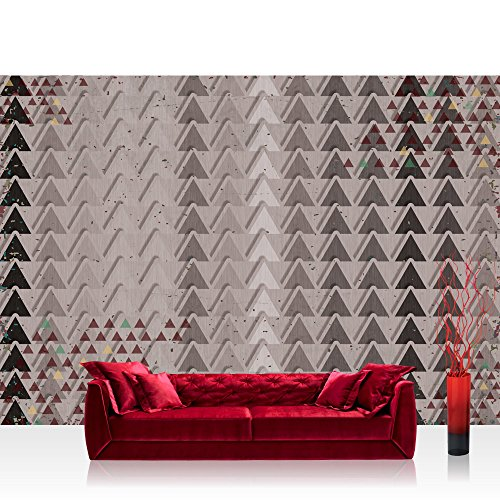 Papier peint photo mural papier peint photo non tissé Premium Plus Papier peint intissé image – Illustrations Papier peint Motif triangles Illustration Gris – No. 1248, gris, Fototapete 254x184cm | PREMIUM Blue Back