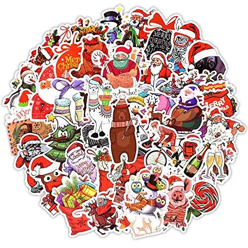 DSSJ Pegatinas de Dibujos Animados de Papá Noel de Navidad para el diseño de la Caja del Coche, Bicicleta, Motocicleta, teléfono, portátil, Equipaje,PegatinaDIY50 Uds