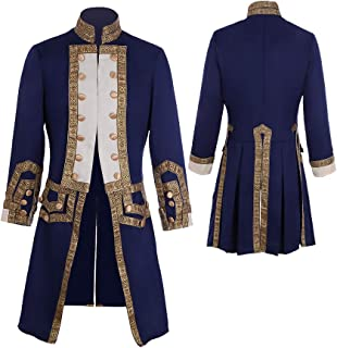 CosplayDiy Men's 18th Century Colonial Military Uniform Tailcoat Costume Medieval Victorian Men's Regency Outfit