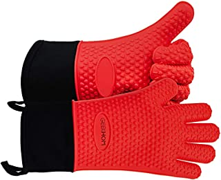 GEEKHOM Grilling Gloves, Heat Resistant Gloves BBQ Kitchen Silicone Dutch Oven Mitts, Long Waterproof Non-Slip Potholder f...