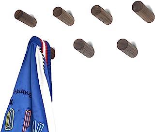 HomeDo木製フック おしゃれ ウォールフック 壁掛けフック 洋服掛け ウォールハンガー 帽子掛け 帽子収納 装飾壁掛けフック タオルハンガー 4個セット (ウォルナット, 6cm)