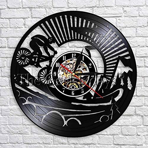 UIOLK Ciclismo Deportes Vinilo Reloj de Pared Reloj de Registro Reloj de Arte decoración del hogar Amantes de la Bicicleta