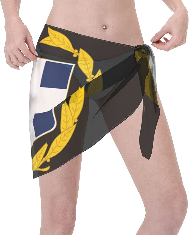 Women Short Sarongs Beach Wrap Sheer Greek Flag2 Bikini Chiffon Cover Ups for Swimwear Black