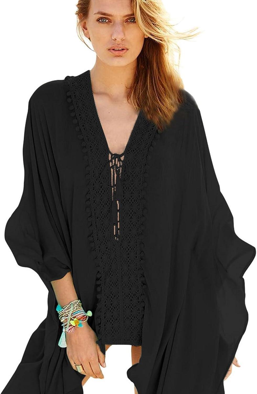 LIAN Beach Dress Seaside Vacation Vneck Longsleeved crochet Applique Tassel Lace Robe Blouse Sundress Mother's Day Gift ( color   Black )