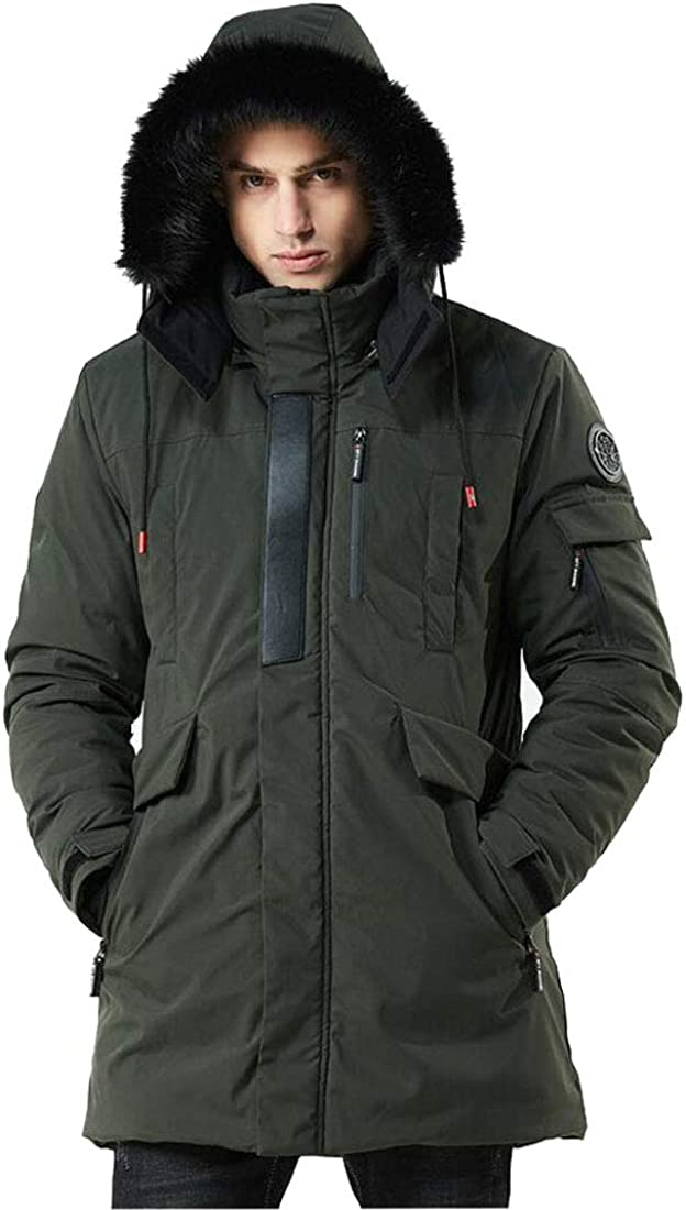HZCX FASHION Men's Winter Coats Parka Jackets Sherpa Anorak Jacket with Fur Hood
