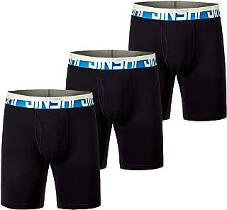 JINSHI Men's Underwear Comfort Soft Bamboo Long Boxer Briefs