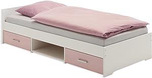IDIMEX Lit fonctionnel avec rangements KAI, 90 x 200 cm pin massif lasuré blanc rose