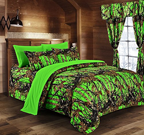 Regal Comfort The Woods Bio Hazard Green Camouflage Queen 8pc Premium Luxury Comforter, Sheet, Pillowcases, and Bed Skirt Set Camo Bedding Set for Hunters Teens Boys and Girls