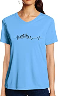 Pooplu Womens Cycling Lover Cotton Printed V Neck Half Sleeves Multicolour t-Shirt. Sports, Exercise, Cycling, Fitness Tshirts