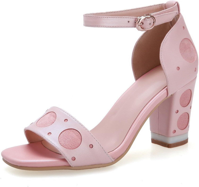 WeenFashion Women's Sheepskin High-Heels Open-Toe Sandals with Chunky Heels and Metal Snap