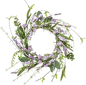 Sullivans Artificial Lavender Candle Ring Wreath, 12""