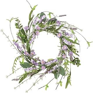 Sullivans Artificial Lavender Candle Ring Wreath, 12