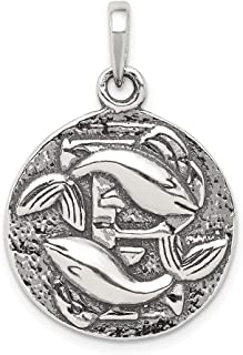 925 Sterling Silver Antique Finish Pisces Horoscope Pendant Charm Necklace Zodiac Fine Jewelry Gifts For Women For Her