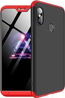 TXLING Custodia Xiaomi Redmi 6 Pro 360 Gradi Full Body Protezione [Ultra Sottile] AntiGraffio Antiurto 3 in 1 Hard Stilosa Pc Case Cover Protettiva Bumper Posteriore per Xiaomi Redmi 6 Pro/Nero Rosso