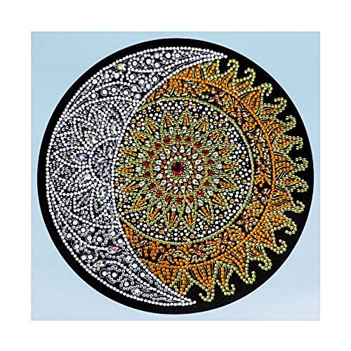 VETPW DIY 5D Luna y Sol Diamante Pintura Kit, Bricolaje Diamond Painting Bordado De Punto De Cruz Diamante Arts Craft para Decoración de la Pared del Hogar (30x30CM)