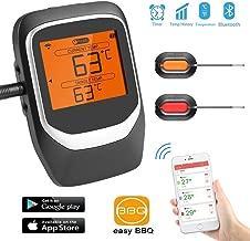Termometro Carne, Sendowtek Termómetro de Cocina con 2 Sondas, Digital Cocina Termómetro Bluetooth con App iOS & Android, Alarma, Magnético, Termómetro de barbacoa para BBQ/Fumadores/Parrilla/Horno