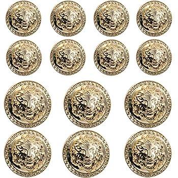 14 Pieces Gold Vintage Antique Metal Blazer Button Set - 3D Lion Head - for Blazer Suits Sport Coat Uniform Jacket 17mm 23mm