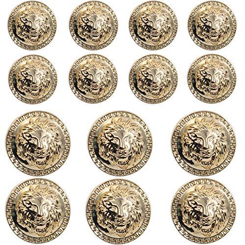 14 Pieces Gold Vintage Antique Metal Blazer Button Set - 3D Lion Head - for Blazer, Suits, Sport Coat, Uniform, Jacket 17mm 23mm