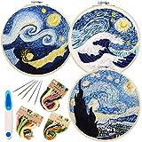 ENTHUR Stickerei-Set mit Muster und Anleitung, Kreuzstich-Set beinhaltet 3 Stickerei-Kleidung mit Blumenmuster, 1 Kunststoff-Stickrahmen, Farbfäden und Werkzeuge (Sternenklarer Himmel)