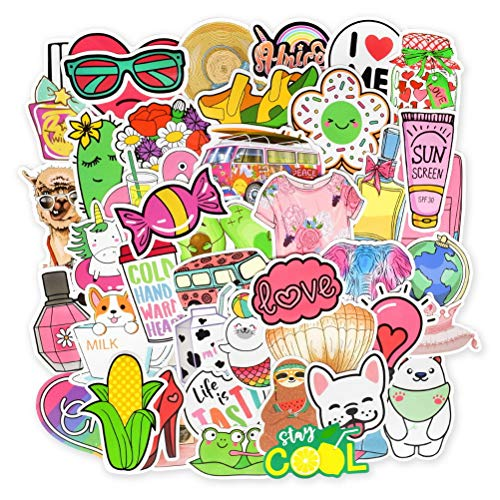 kuou 100 Pieces Cute Stickers, Trendy Cool Unique Decal Graffiti Patches Laptop Phone Suitcase Skateboar Vinyl Waterproof Stickers for Girls Teens