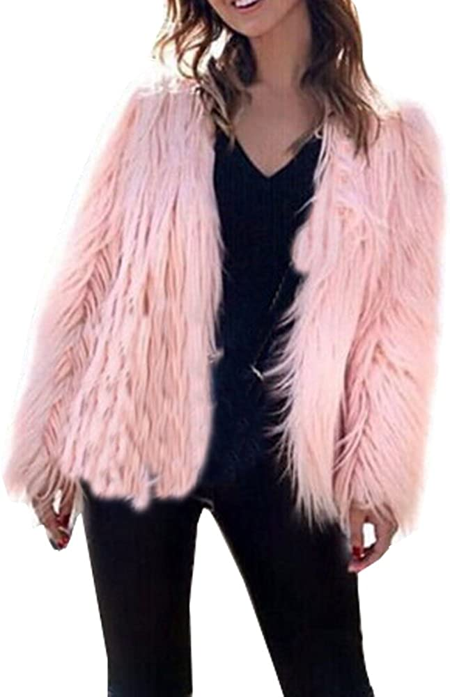 LIYT Women's Fashion Faux Fur Coat Jacket Winter Short Coat