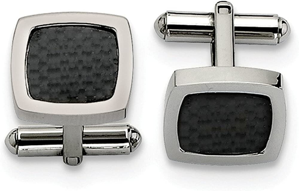 Black Bow Jewelry Men's Stainless Steel and Black Carbon Fiber Convex Cuff Links