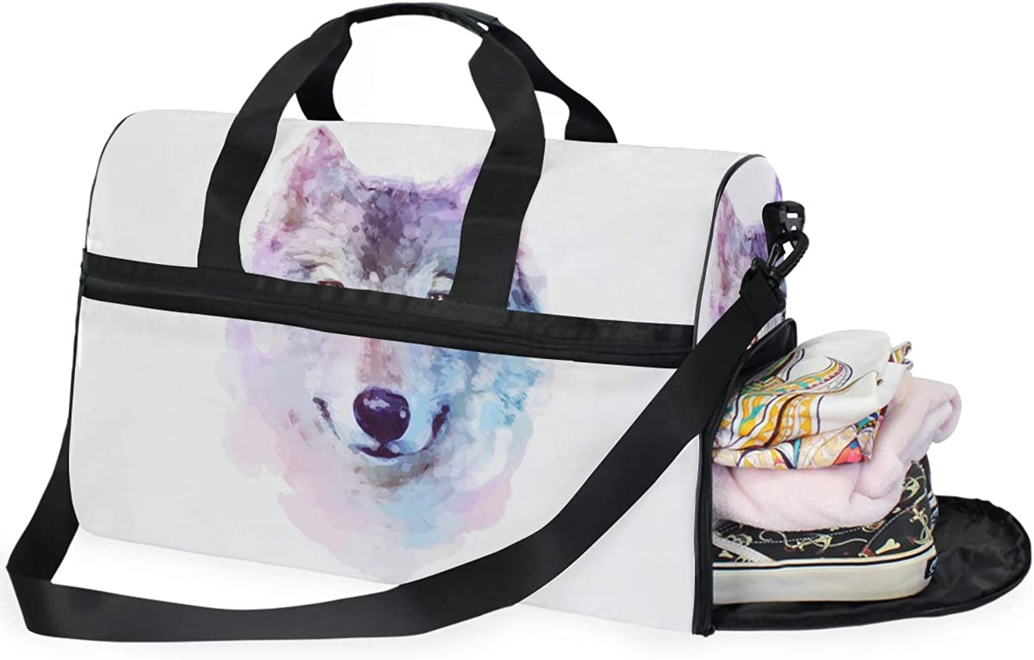 2d20c26e482e DEZIRO Weekender Bag Canvas Duffle Travel, Wolf Painting 45L Duffel ...