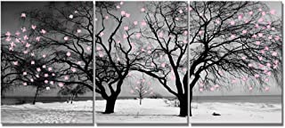 Welmeco Gray Canvas Wall Art Decor Black and White Winter Twin Tree with Pink Floral Graffiti Picture Prints Artwork for Modern Home Office Bedroom Bathroom Kitchen Decoration