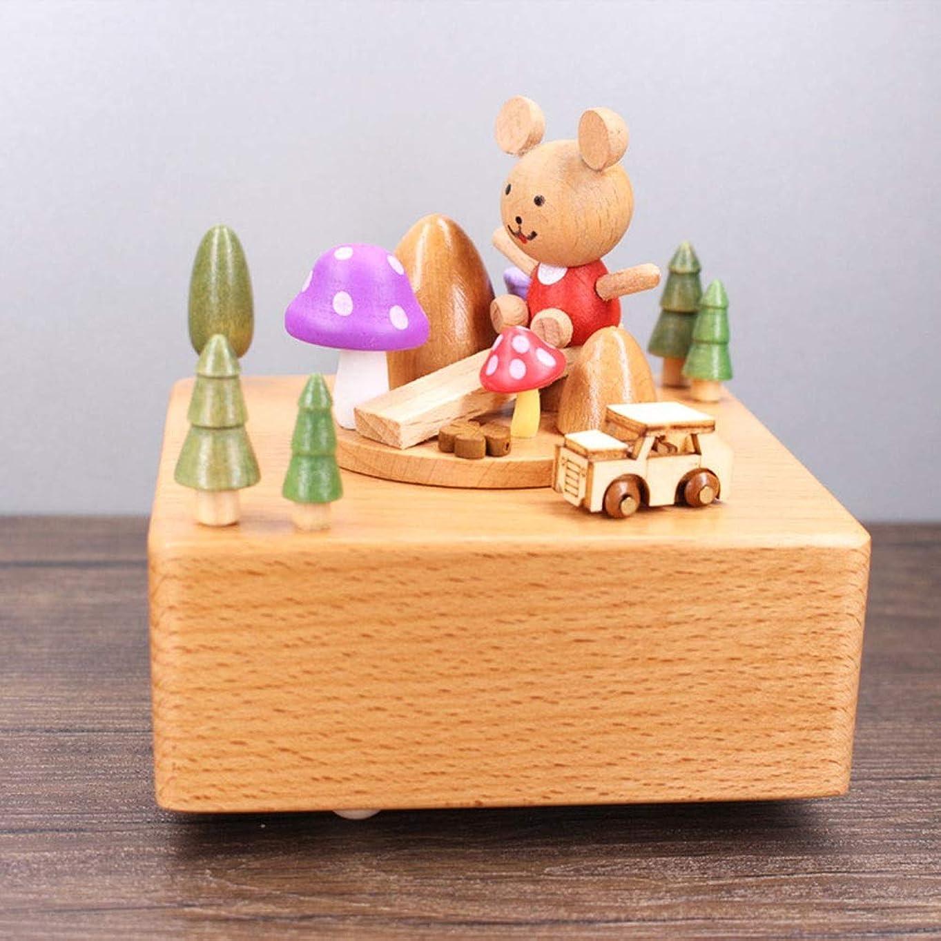 母性防水流暢アート ヴィンテージの木製の車カブススケートボードピンクのキノコパーソナライズされたオルゴールオルゴール家庭用家具の贈り物の装飾品を回転誕生日プレゼントクリスマスプレゼント11 * 11 * 15CM 飾る